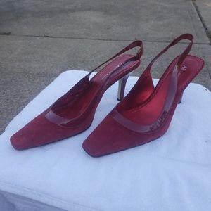 Anne Klein Red Suede Mid-Spike Slings Women's Shoe